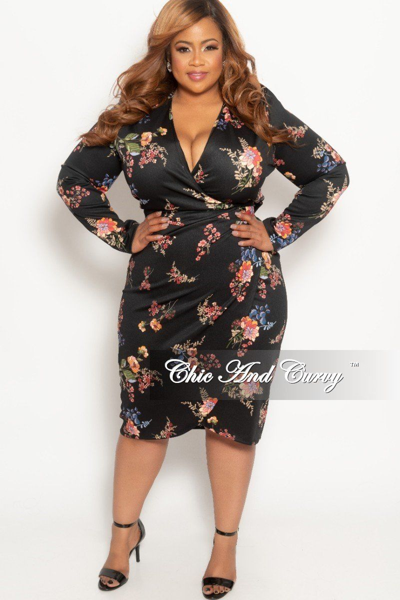 Plus Size Wrap Dress In Black Floral Print Chic And Curvy Plus Size Fashion For Women Chic And Curvy Dresses [ 1200 x 801 Pixel ]