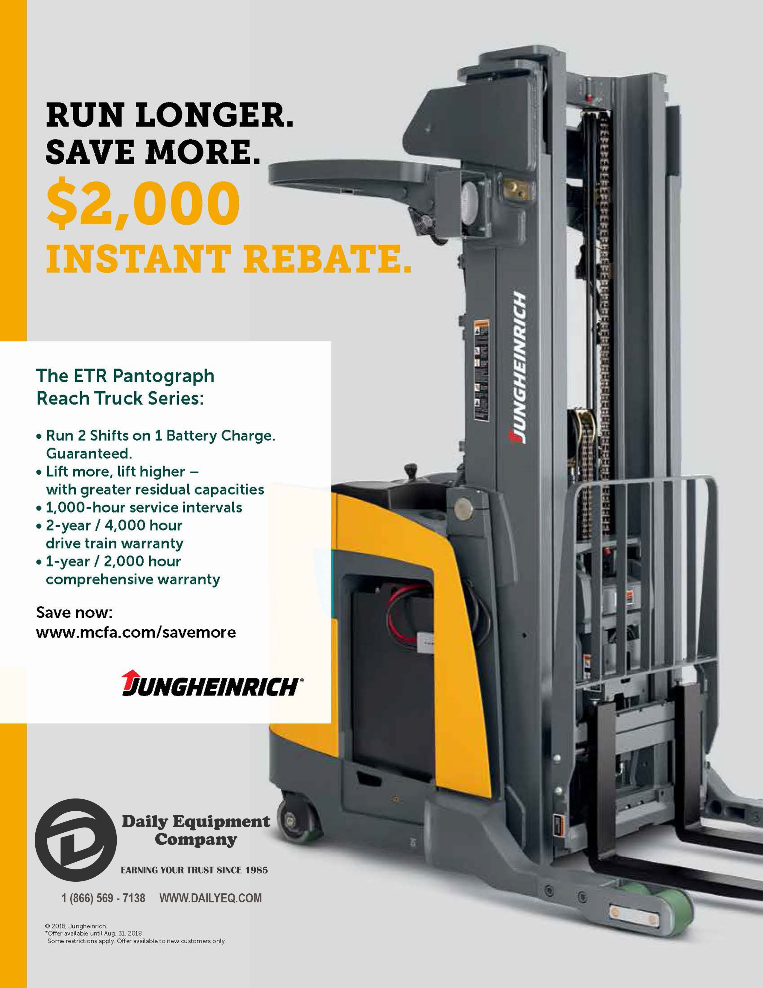 Instant $2,000 Rebate on the Jungheinrich ETR Pantograph Reach Truck Series  Check out details here: