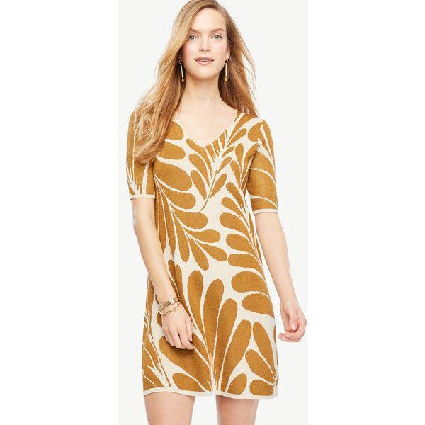 fa4b812d59e Ann Taylor Petite Leaf Petal V-Neck Sweater Dress ( 129) ❤ liked on  Polyvore featuring dresses