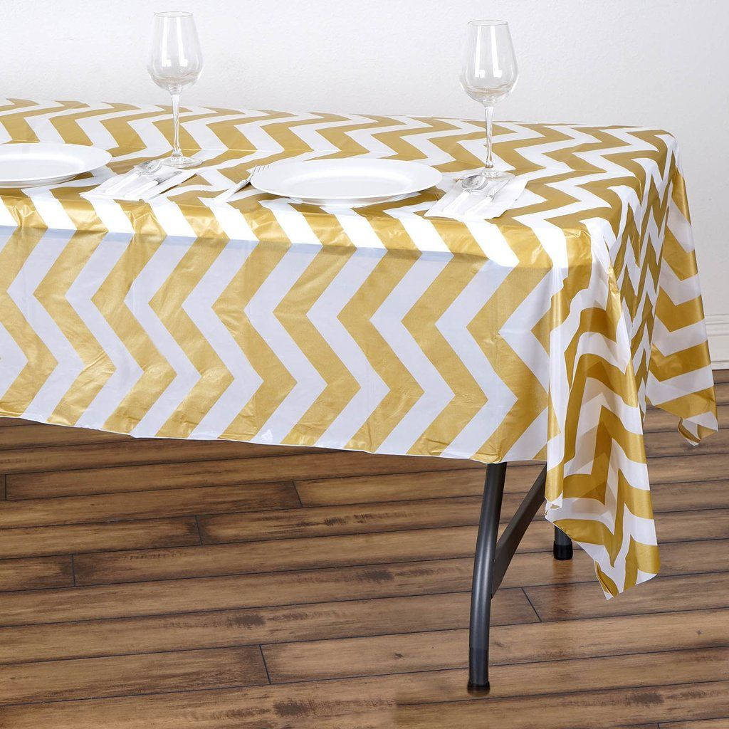 54 X 108 Gold 10 Mil Thick Chevron Waterproof Tablecloth Pvc Rectangle Disposable Tablecloth In 2020 Plastic Table Covers Plastic Tables Vinyl Tablecloth