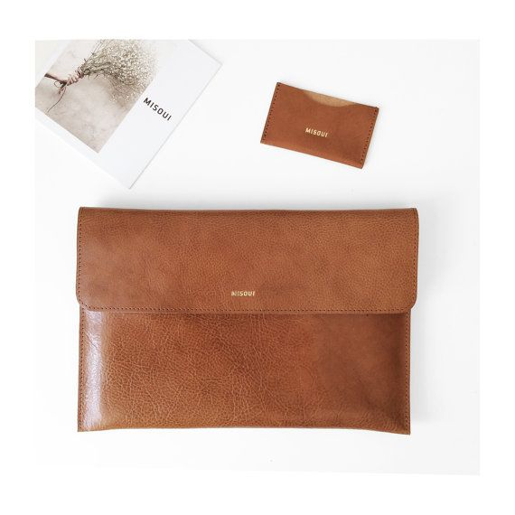 NEW Leather Macbook 12 Sleeve Office Bag Padded Leather by MISOUI