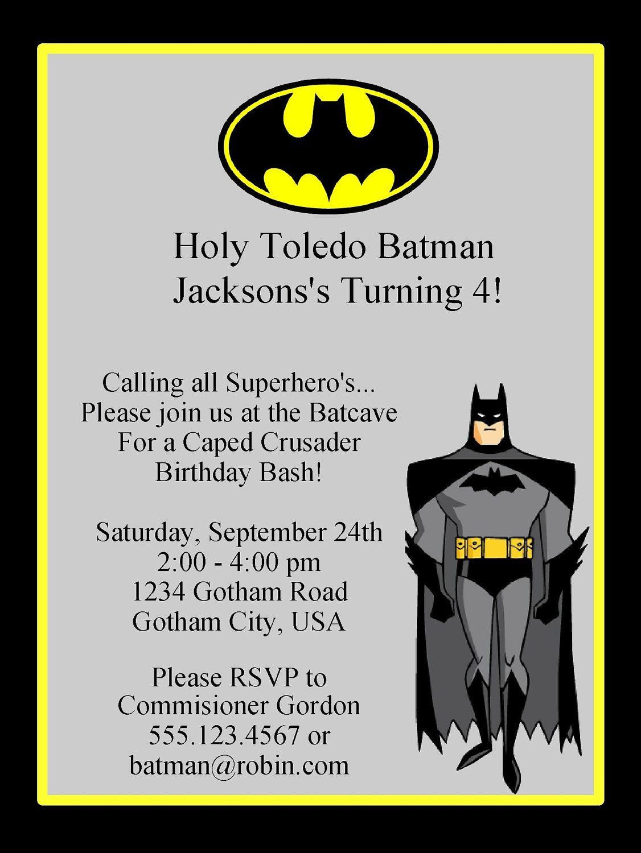 BATMAN BIRTHDAY INVITATION Printable Digital InvitationSuper – Birthday Invitations Printables