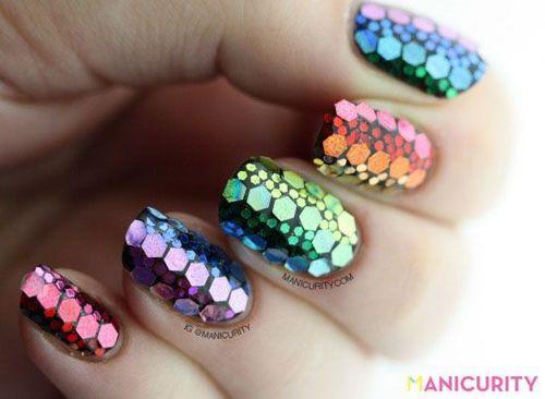 Rainbow Nails With Hexagon Glitter Glitter Nail Art Pinterest