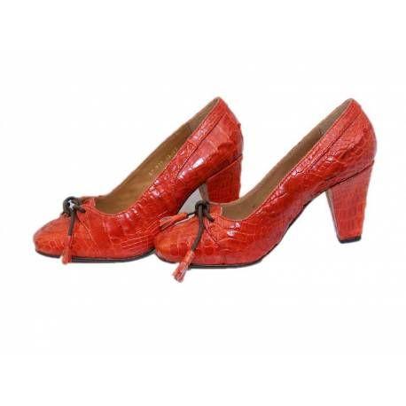 Peau Crocodile Femme Chaussures Talons À Hauts Erika Réalisé Rouge vqndB
