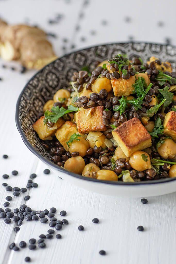 Linsencurry mit gebratenem Tofu und Ingwer | Rezept | Indische Küche ...