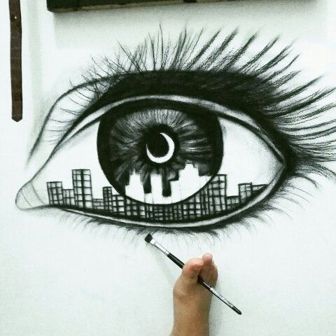 Eye Drawing on Wall