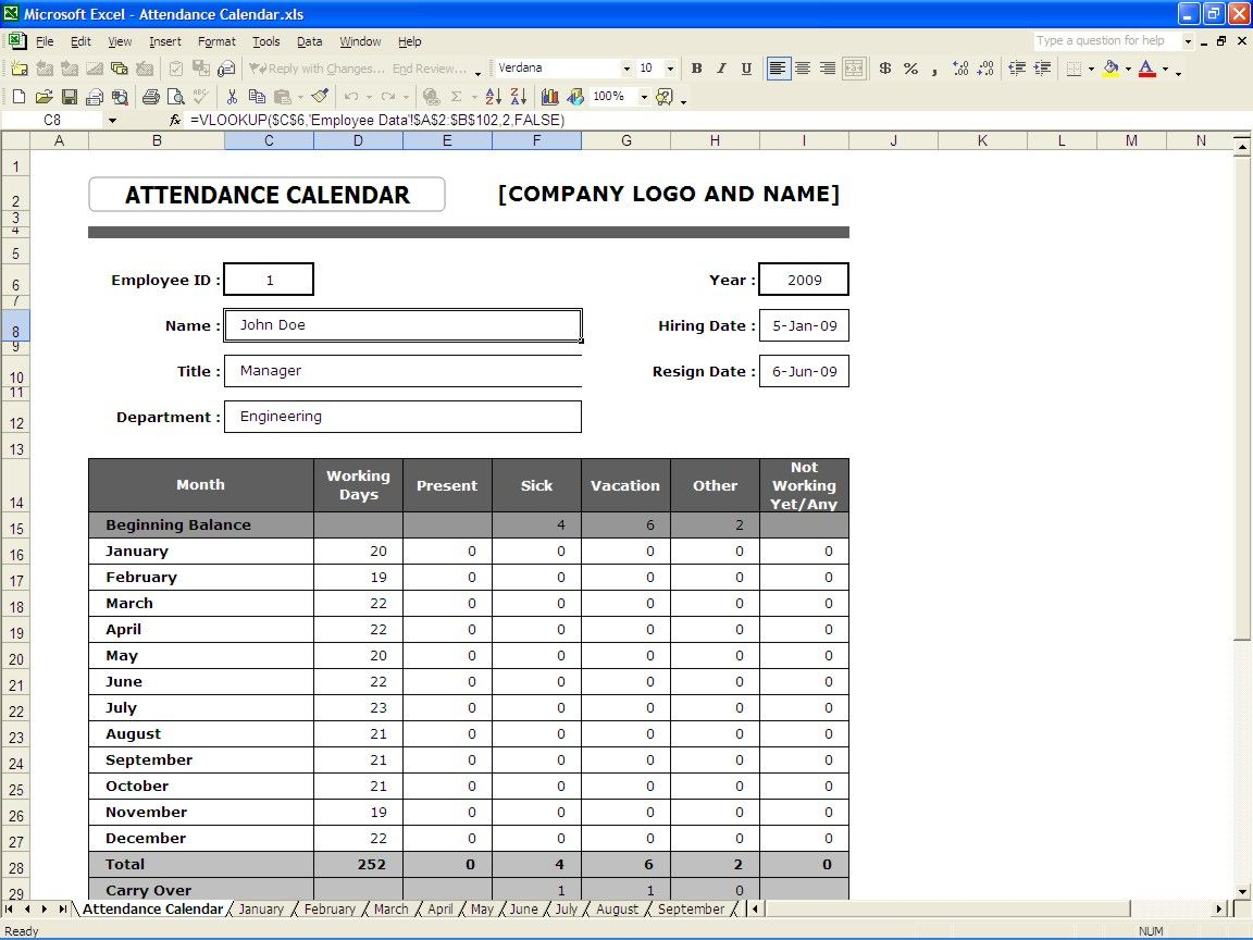 Attendance Spreadsheet Template Interesting Attendance Calendar  Attendance Sheet  Pinterest  Attendance .