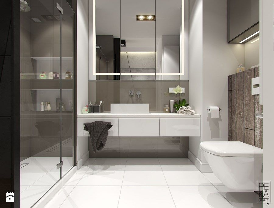 MINIMALIZM Z TURKUSEM Średnia łazienka w bloku w domu