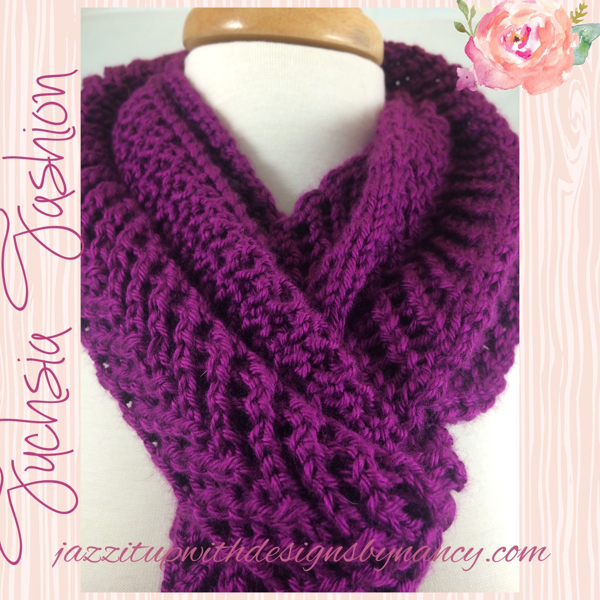 #cpromo Dark Fuchsia Hand knit Scarf Extra Long in lace Arrowhead Pattern Caron Simply Soft yarn