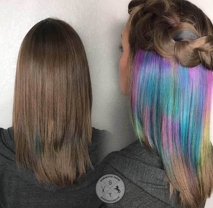 Pastel and Neon Hair Colors in Balayage and Ombre Pastel Underlights