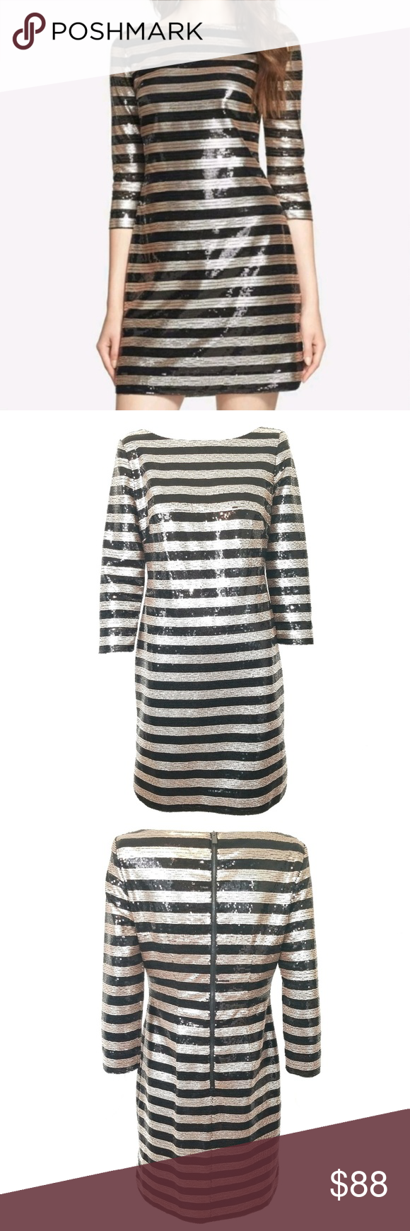 Vince camuto sequin black gold stripe dress size in my posh
