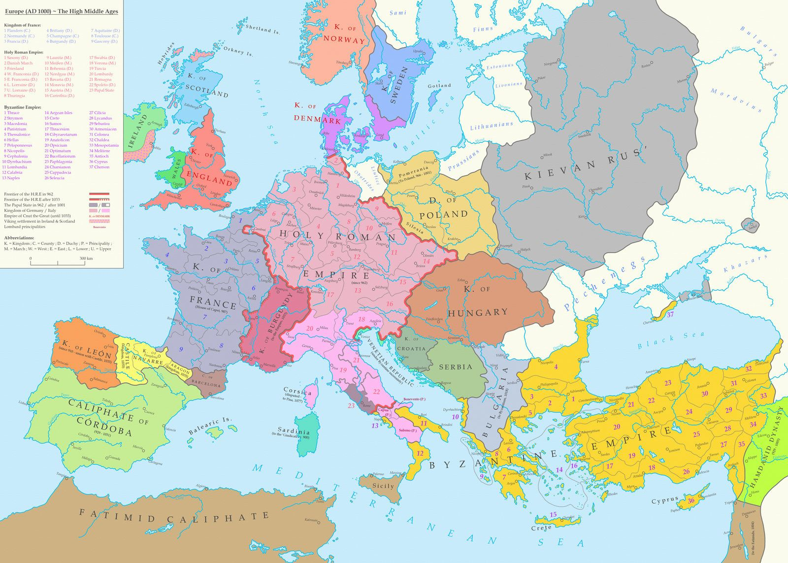 map of europe during the high middle ages 1000 ad 1600 1143