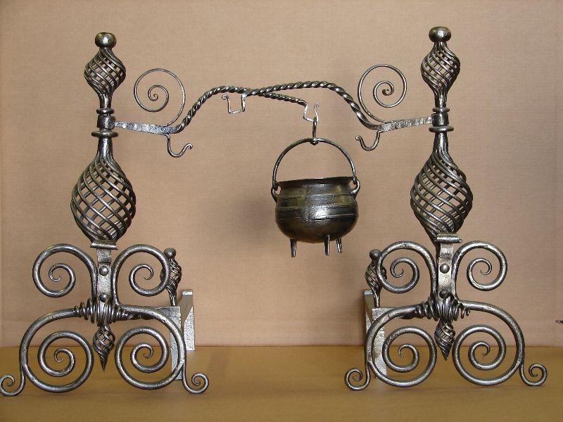 Antq. restored-burnished-steel w-Crane arm $4224