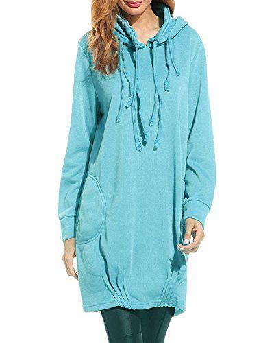 4e7840a45e5 Kidsform Femme Vestes de Sport Hoodies Sweats à Capuche Manteau Longue Sweat-Shirts  Robe Poches