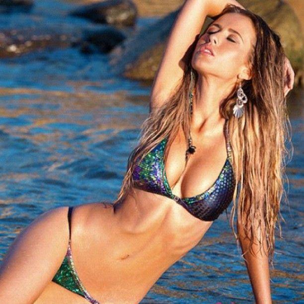 Polka Dot Bathing Beauty Sitting Figurine: Mermaid Bikini, Swimwear