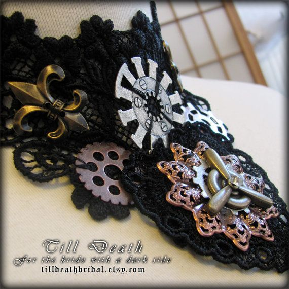 Star Trooper lace steampunk choker by Tilldeathbridal on Etsy, $25.00