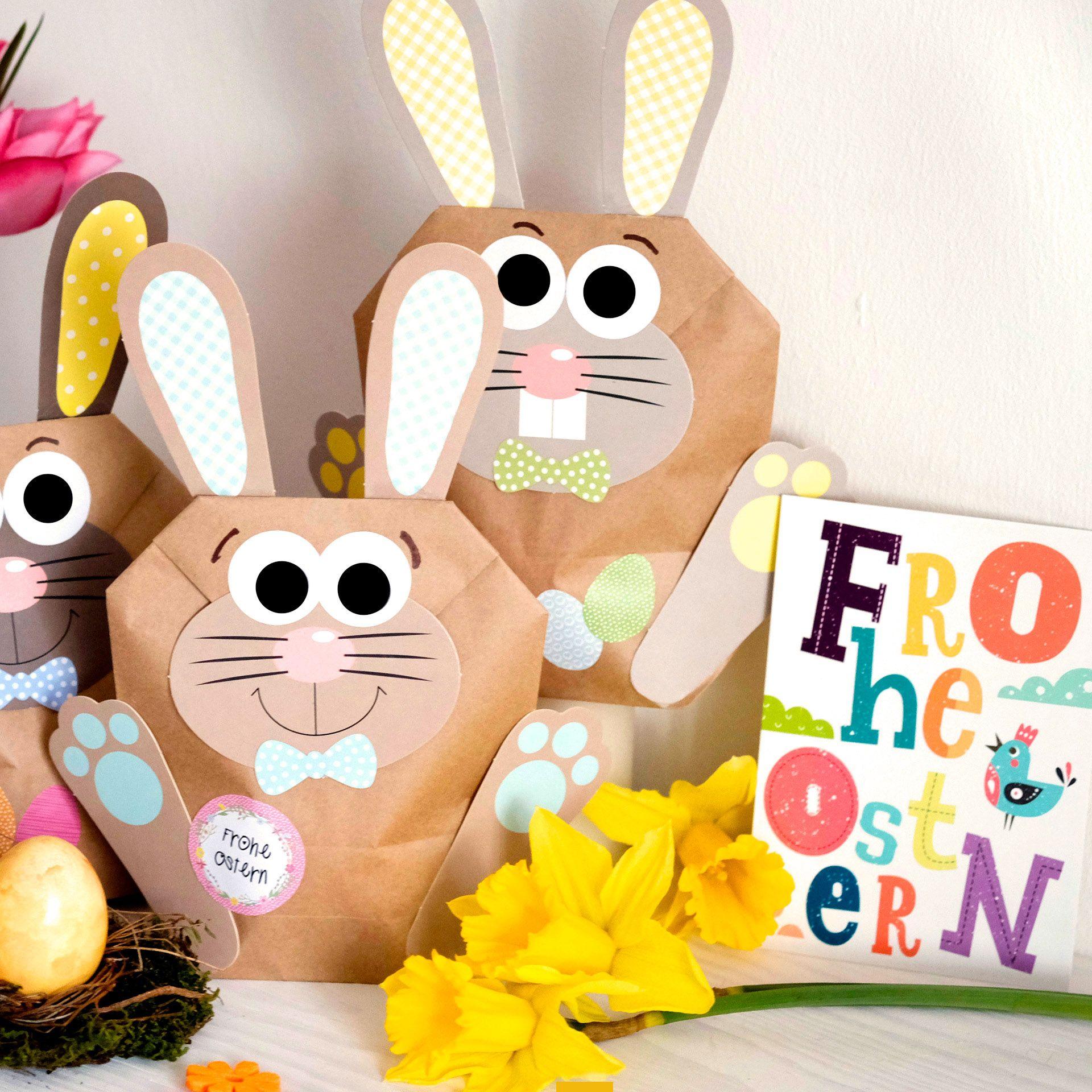 12 Diy Osterhasen Tuten Bunte Geschenktuten Zu Ostern Zum Selber Befullen Zum Verpacken Von Geschenken Fur Kind Osterhase Selber Basteln Osterhasen Basteln