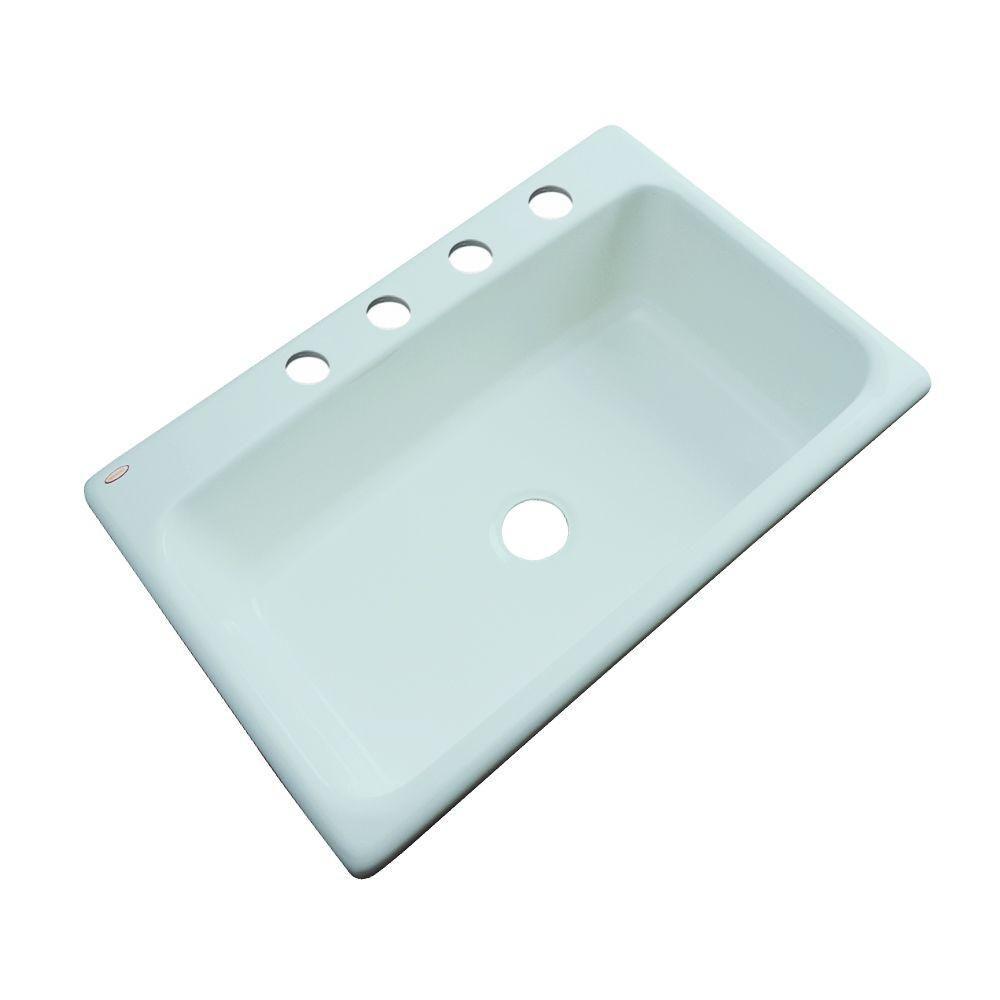 Manhattan Drop-In Acrylic 33 in. 3-Hole Single Bowl Kitchen Sink in ...