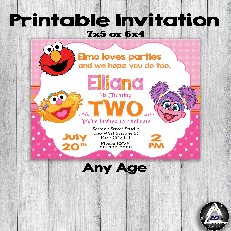 Pink Elmo Invitation, Elmo Birthday, Zoe Invitation, Sesame Street ...