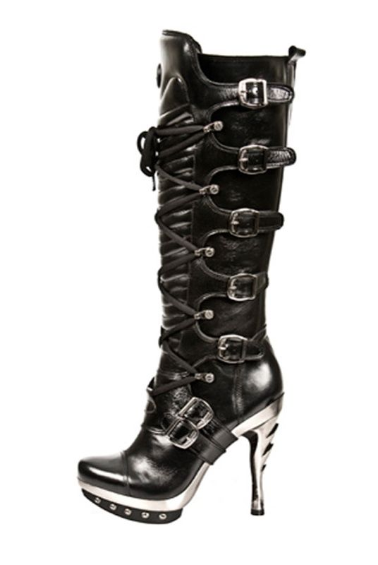 59d533d561f3 New Rock Knee High Goth Biker Metal Heel Strap Boot. Punk 005 - S1 ...