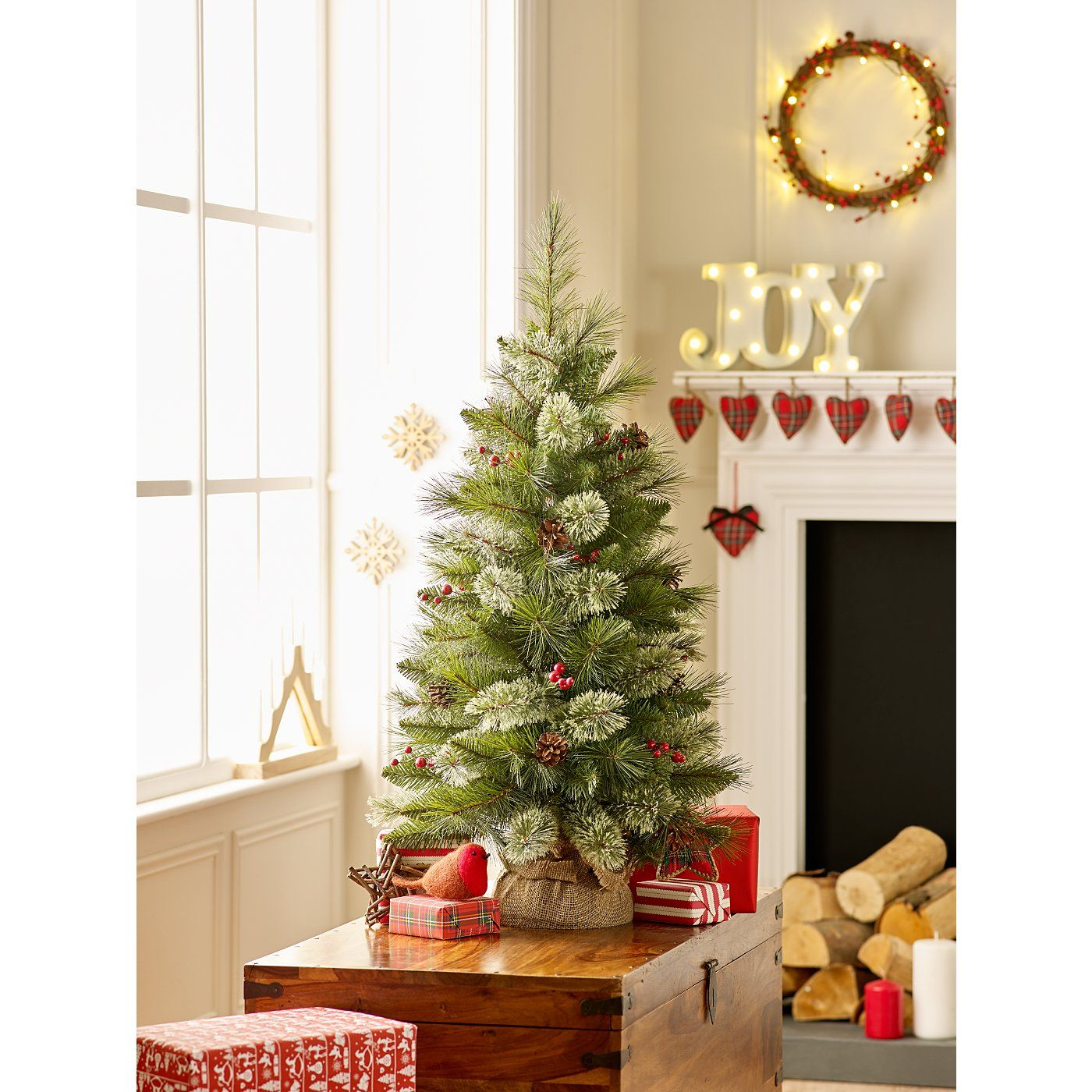 Asda Christmas Trees: 3 Ft Cashmere Feel Pine Cone And Berry Tree