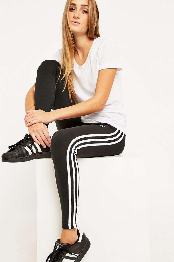 adidas Three Stripe Black Leggings Urban Outfitters