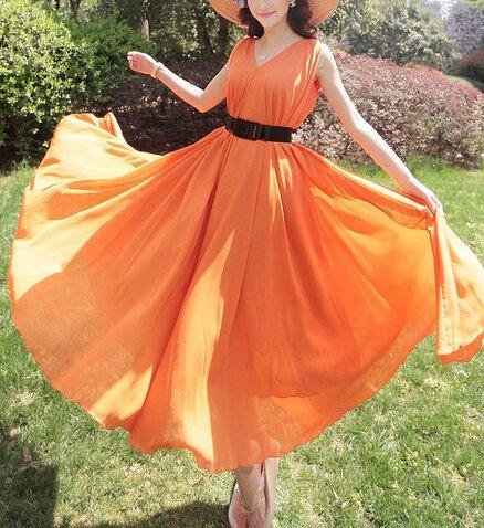 plus size Maxi dress women orange Bridesmaid Dresses by lydiadress, $48.00