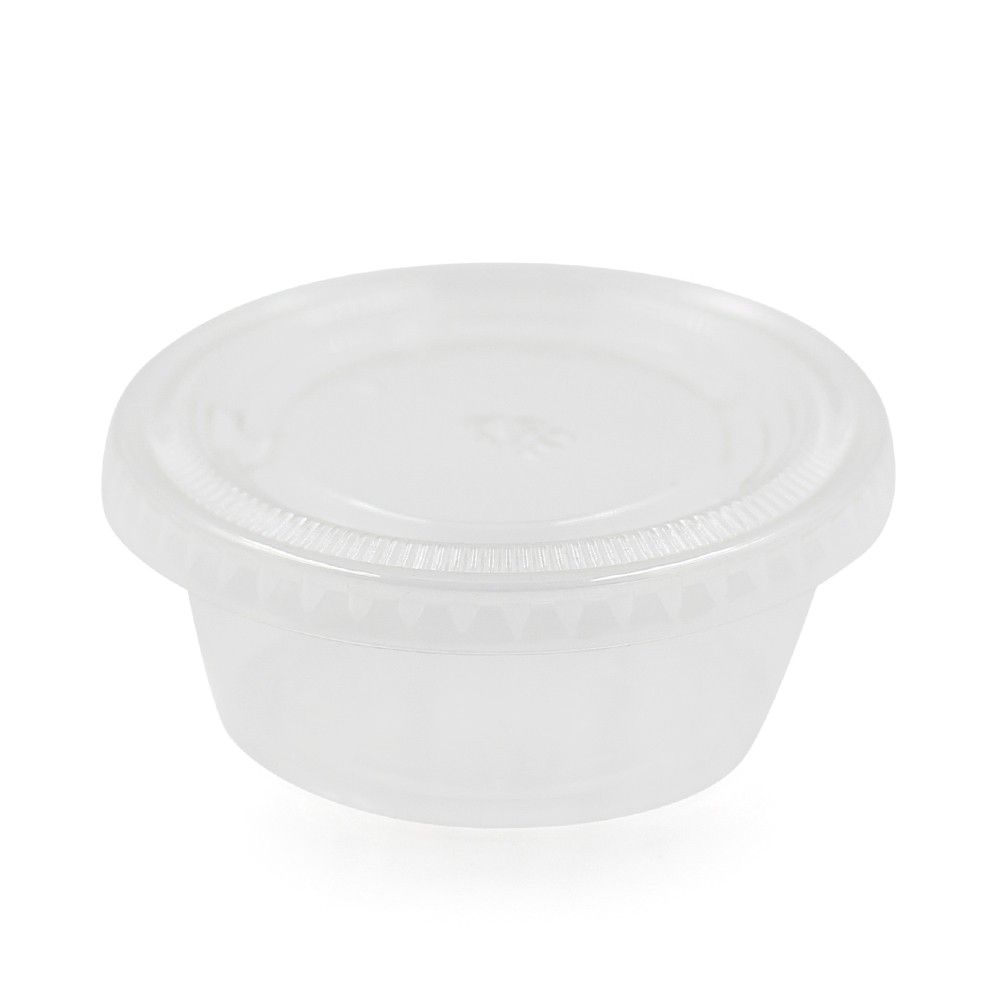 علب للصوص شفاف غطاء شفاف السعة 70 مل العدد 50 علبه الطول 3 سم العرض 7 سم متوفرة لدى موقع صفقات موقع متخصص بأ Ramekins Takeout Container Food