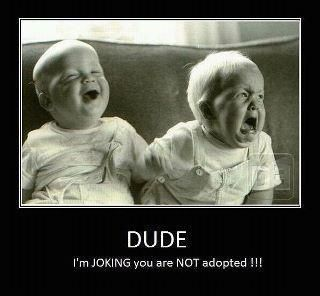 I laugh every time I see this. I think mainly because my brothers used to tell me I was adopted. :)