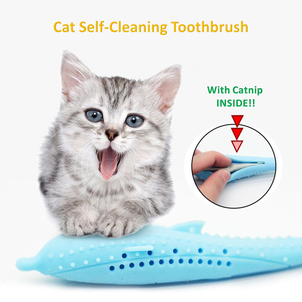 Cat SelfCleaning Toothbrush With Catnip INSIDE