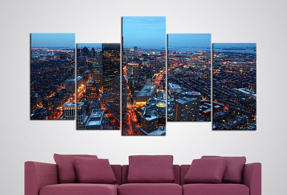 Boston Skyline Canvas Set Massachusetts Wall Hanging Living Room Wall Art Panoramic Photo Bedroom Decor 5 Panels Wall Art Skyline Poster & Boston Skyline Canvas Set Massachusetts Wall Hanging Living Room ...