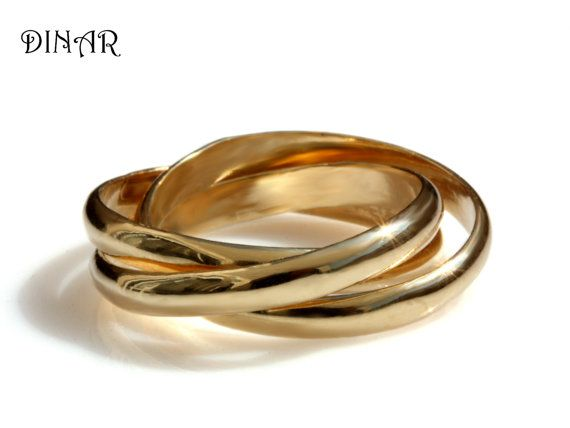 Trinity Wedding Band Intertwined Rolling Ring Three 3mm Wide Half Round Bands 14k Solid Gold Russian