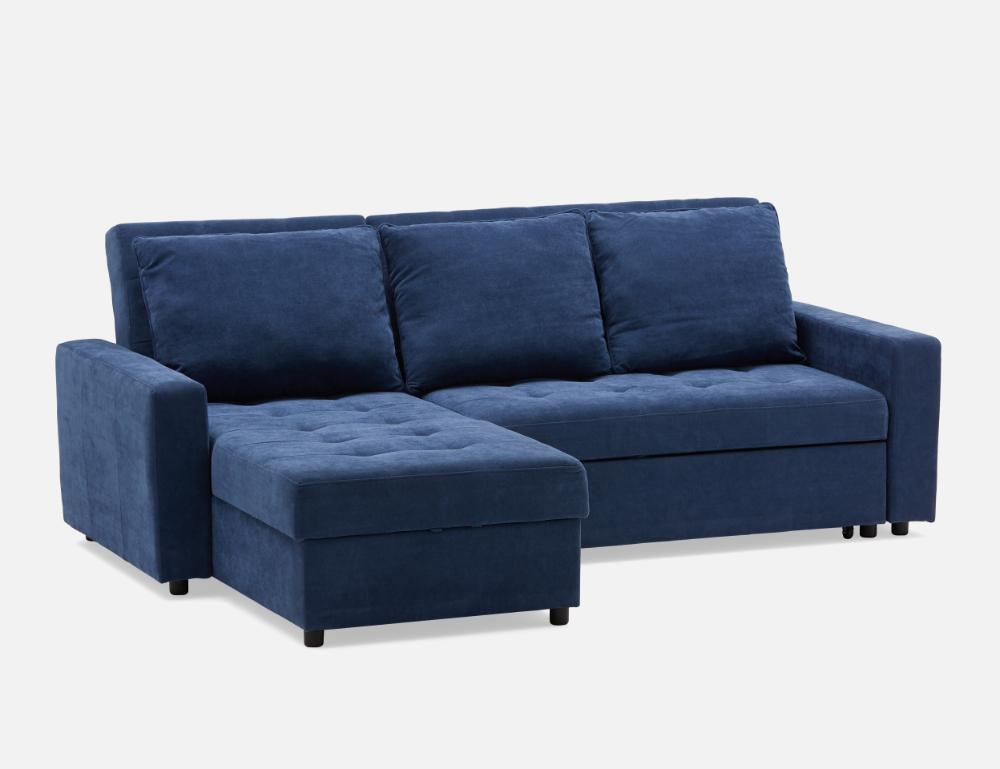 Megan Dark Blue Interchangeable Sectional Sofa Bed Struc