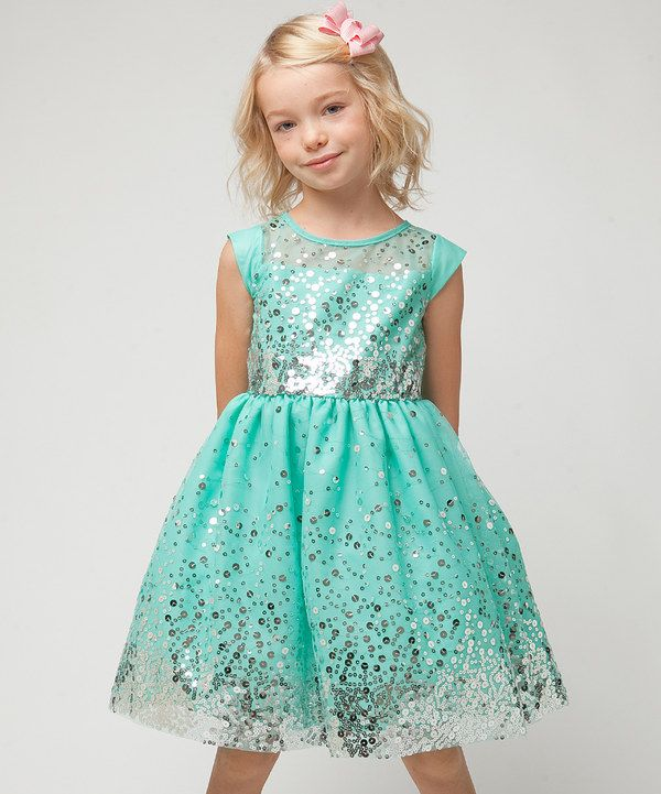 Look at this Sweet Kids Mint Sequin Mesh Cap-Sleeve Dress - Girls on #zulily today!