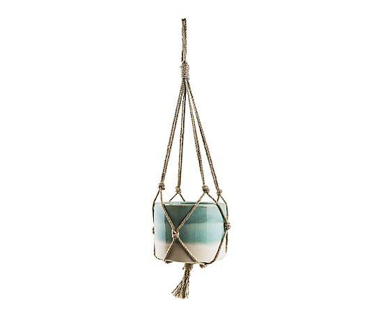 Vase suspendu BORA, turquoise et naturel - Ø18