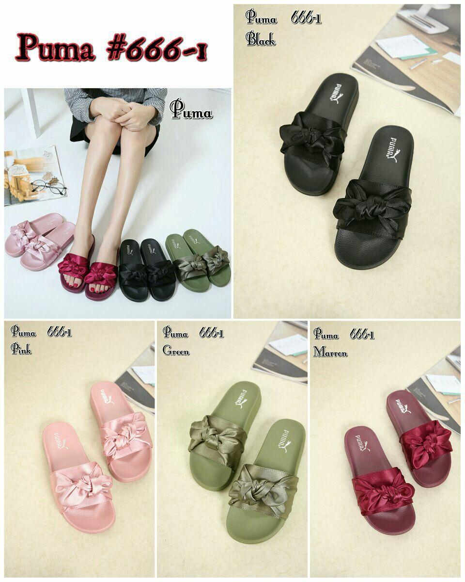 Puma Rihanna Fenty Bow Shoes Series 666 1 Black Pink Green