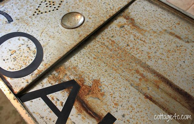 diy rust vintage bread drawer turned bathroom cabinet, kitchen cabinets, repurposing upcycling, Rust treatment with stencil