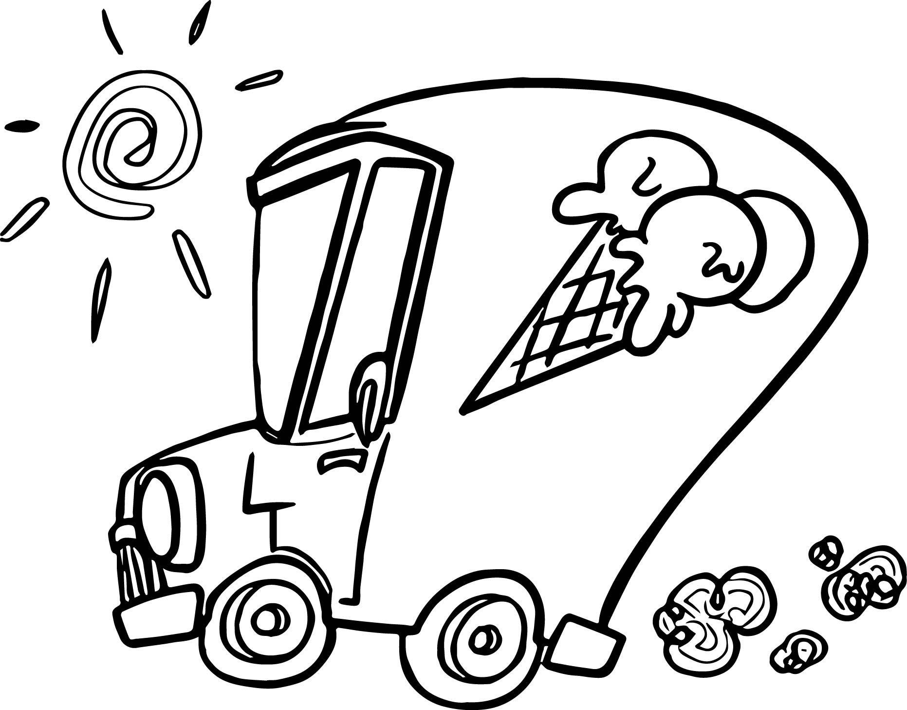 Cool Summer Ice Cream Car Coloring Page