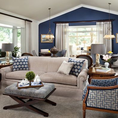 Blue Family Room Accent Walls In Living Room Navy Living Rooms Beige Living Rooms