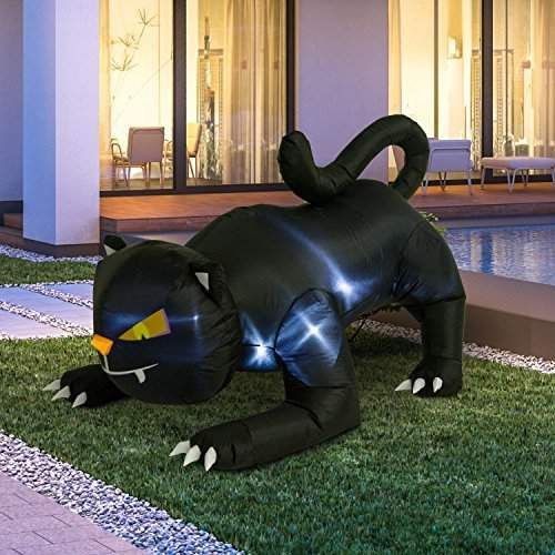 Giant Creeping Black Cat Halloween LED Lighted Outdoor Air Blown - outdoor inflatable halloween decorations