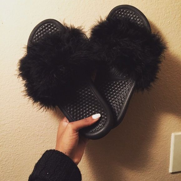 Black furry Nike slides Multiple sizes are available. Prices are negotiable Nike  Shoes Slippers