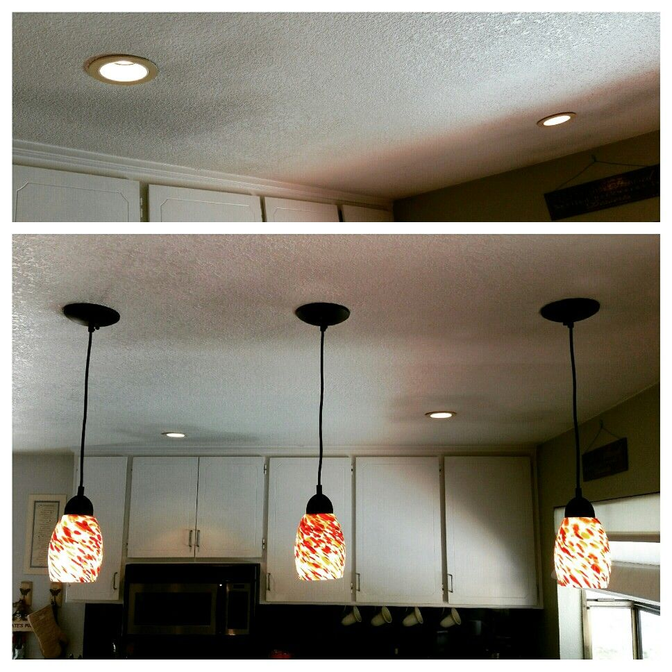 Diy 3 Pendant Lights Kitchen Install Remove Recessed Lights