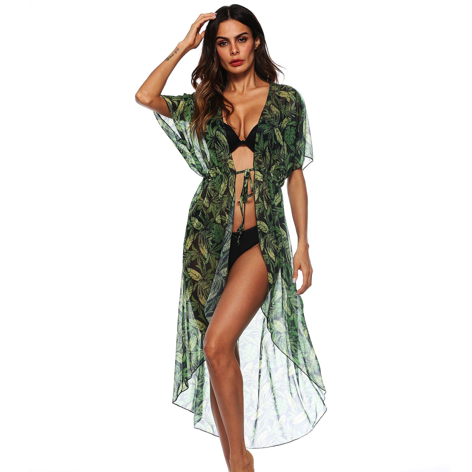 2019 New Bikini Cover Up Chiffon Green Banana Leaf Print Beach Shirt Sexy Sunscreen Cardigan Holiday Skirt Cover Up 7
