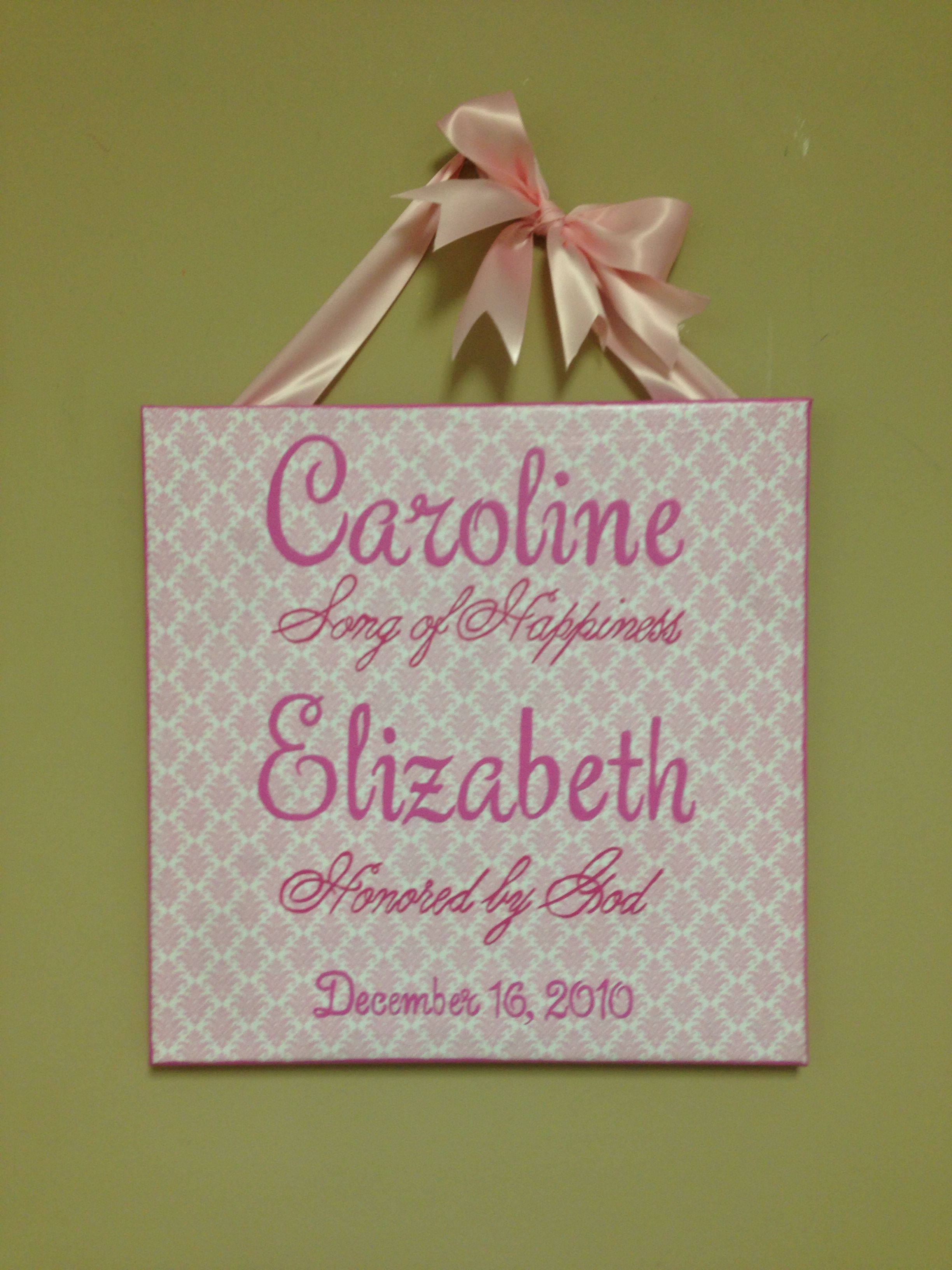 Scrapbook ideas names - Pink And White Scrapbook Paper Covered Canvas Name And Meaning For Girls Room