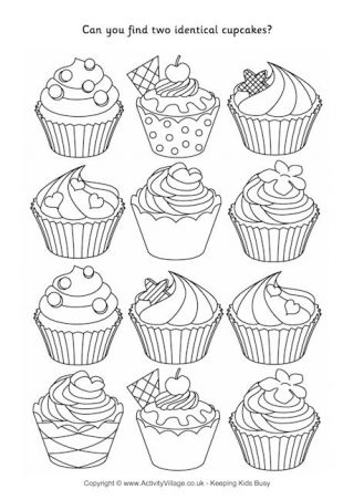 Find Two Identical Cupcakes Puzzle Cupcake Coloring Pages Coloring Pages Cute Coloring Pages