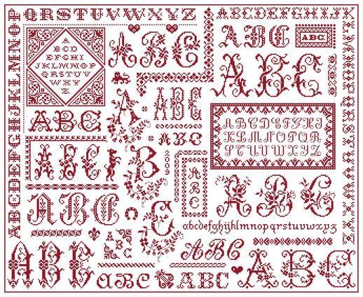 ABC Sampler - Marquoir rouge au point de croix de Clorami Designs. www.clorami-designs.be