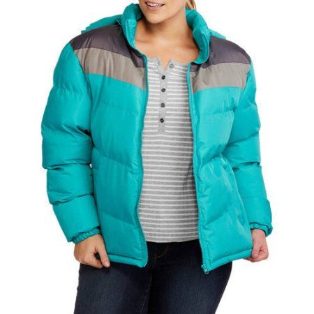 1975ae25c0aa9 Climate Concepts Women s Plus-Size Chevron Hooded Puffer Coat with Cozy  Microfleece Lining
