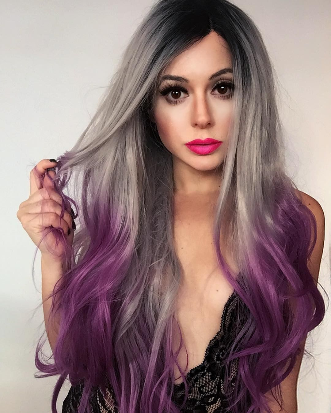 Long grey to purple orchid ombre wave synthetic lace front wig