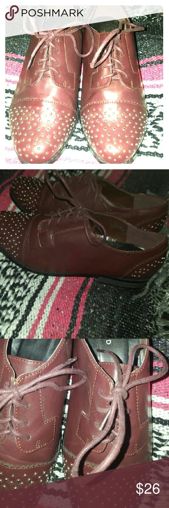 Torrid Oxford EUC.  Worn once. Nice plum undertone. Gold studs on toe. torrid Shoes Flats & Loafers