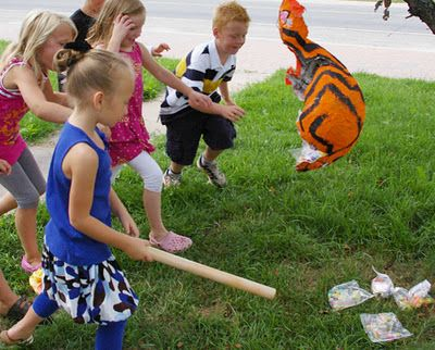 Beneath the Rowan Tree: Make It :: Party Pinata!  Fill the pinata with bags of stuff for each kid! What an idea! No unfair scramble and no mess.